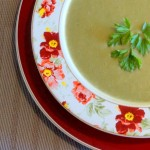 Sopa de ervilha com biomassa de banana verde